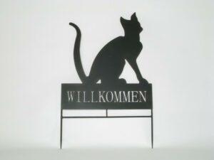Willkommensschild Katze Beetstecker - Metall Gartendeko