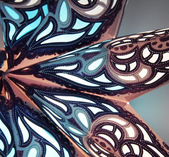 zoom Glitzer Papierstern 7 Zacken blau Sumita Leuchtsterne 60 cm