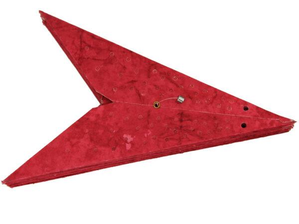 zusammengefalteter Papierstern rot 9 Zacken – Batik Anemone – Leuchtsterne 40 – 60 cm